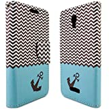 Alcatel One Touch Elevate Case, CoverON [CarryAll Series] Flip Folio Card Slot Pouch Cover LCD + Strap + Stand Wallet Design Case For Alcatel One Touch Elevate - Blue Chevron Anchor