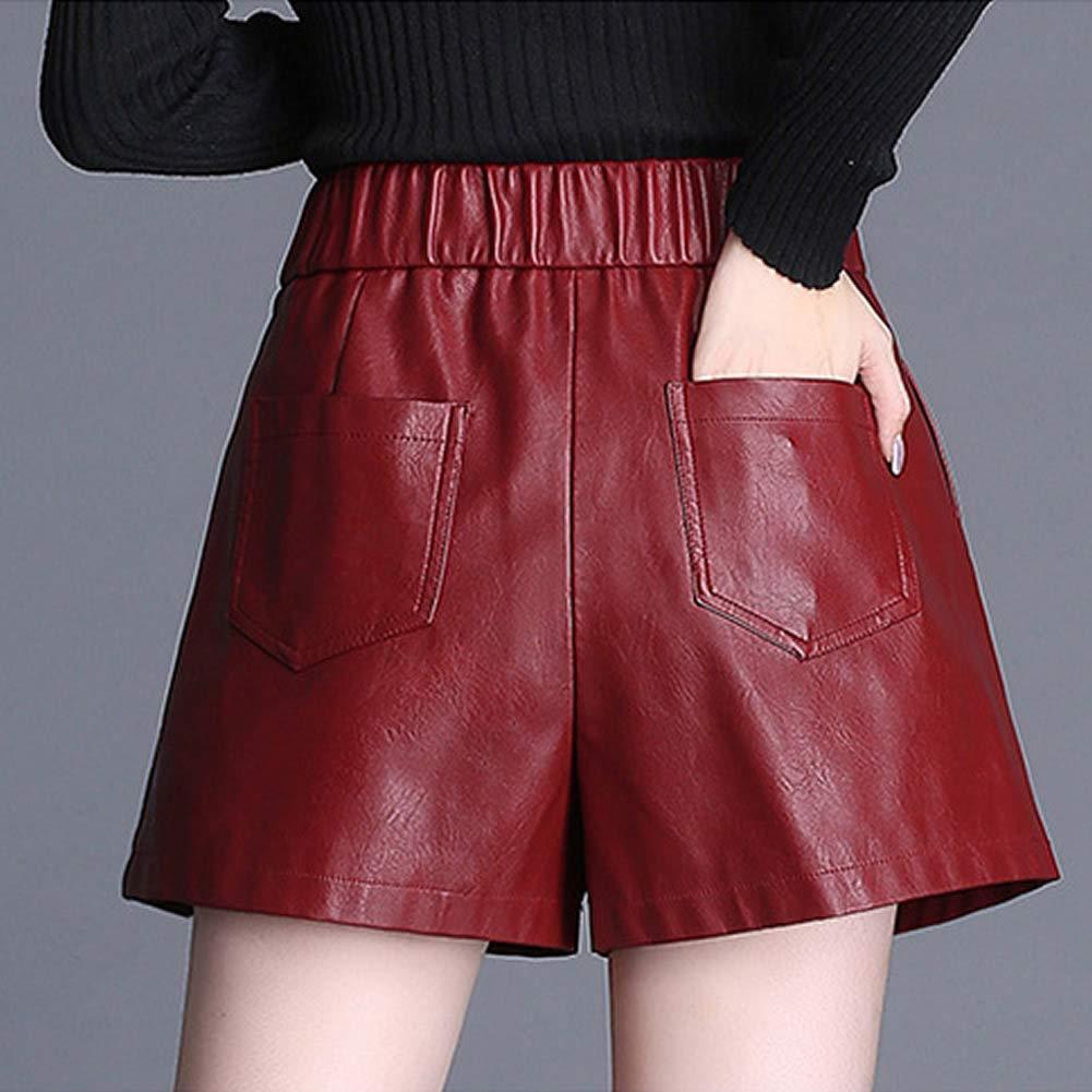 58ed81a317 DISSA F6901 Shorts Pantalons Court Taille Haute Grande Taille Cuir PU Femme  Femme