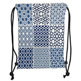 Custom Printed Drawstring Sack Backpacks Bags,Arabian,Arabesque Islamic Motifs with Geometric Lines Asian Ethnic Muslim Ottoman Element,Blue White Soft Satin,5 Liter Capacity,Adjustable String Closure
