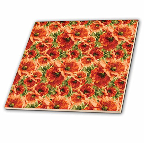 3dRose ct_195707_3 Pretty Red Poppy Floral Ceramic Tile, 8-Inch