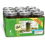 Ball Wide Mouth Pint and Half Glass Mason Jars with Lids and Bands, 24-Ounces, 9-Count