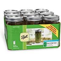 Ball Glass Mason Jar with Lid and Band, Wide Mouth, 24 Ounces, 9 Count