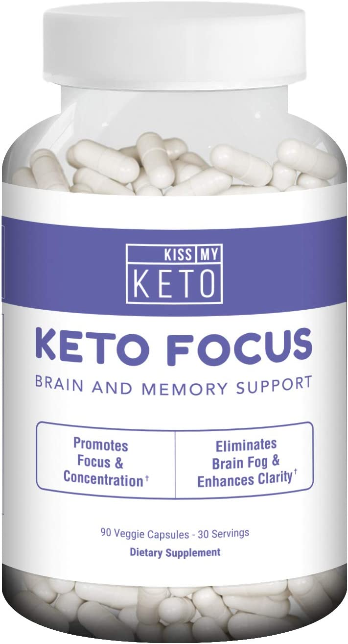 Kiss My Keto Brain Support Supplement – 90 Vegetable Capsules, Nootropic Supplement for Memory, Focus, and Mental Clarity with B12, L-Tyrosine, Ginkgo Biloba, DMAE, Ashwagandha, Lion s Mane, More