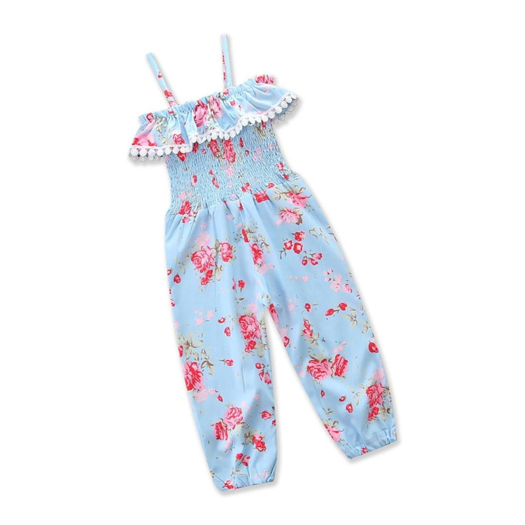 Cyond Rompers Suit for Girls, Cute Kids Baby Girls Jumpsuit Tassel Flower Foral Print Overalls Jumpsuit Long Pants Sleeveless Girl Romper Suit