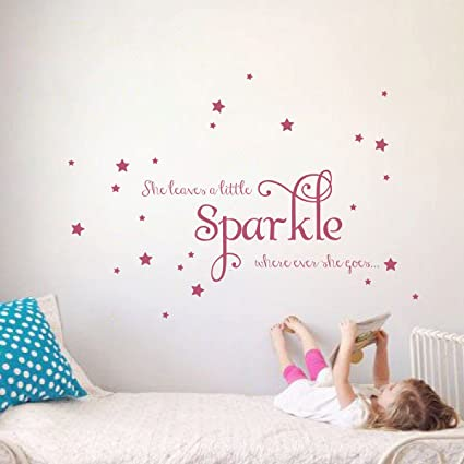 Amazoncom She Leaves A Little Sparkle Girls Room Vinyl Wall Decal