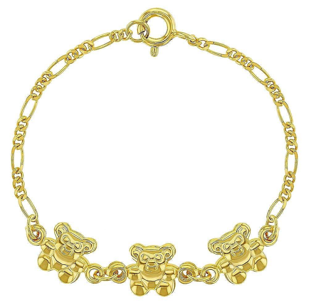 para beb/é de oro amarillo Pulsera de plata de ley 925 con colgante de oso de peluche ni/ña de 12,7 cm