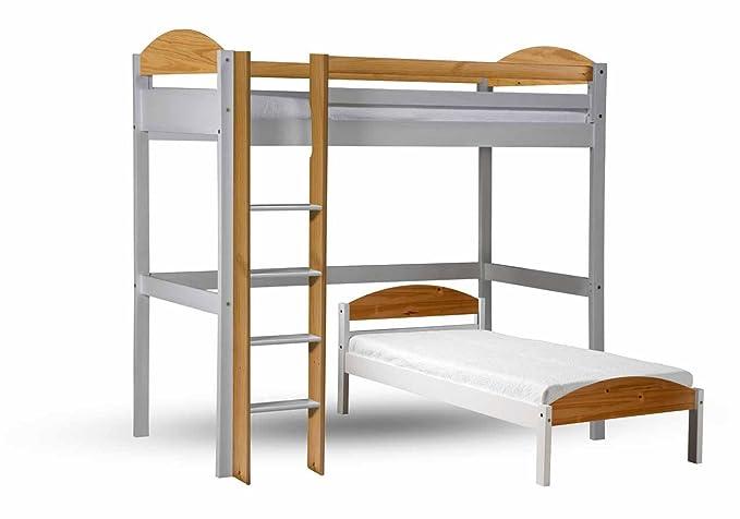 Hochbett L Form : Design vicenza maximus l form hochbett holz weiß mit kiefer