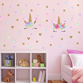 2 Pcs Unicorn Wall Decal Girls Bedroom Home Decor Unicorn Wall Stickers Decorations Wall Decor With Stars