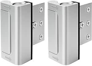 """Home Security Door Lock, Upgrade Easy Open Childproof Door Reinforcement Lock with 3"""" Stop Withstand 800 lbs for Inward Swinging Door, Add Extra Lock to Defend Your Home Safe, Silver, U95278"""