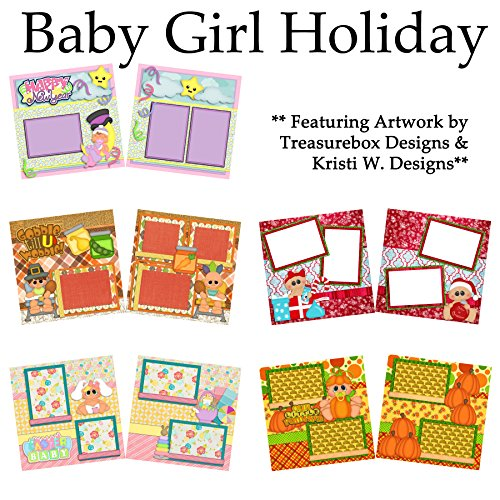 BABY HOLIDAY GIRL Scrapbook Set - 5 Double Page Layouts -