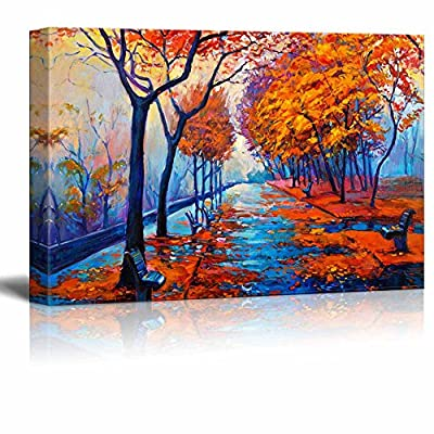 Original Oil Painting Showing Autumn Park with Empty Benches, Original Creation, Incredible Portrait