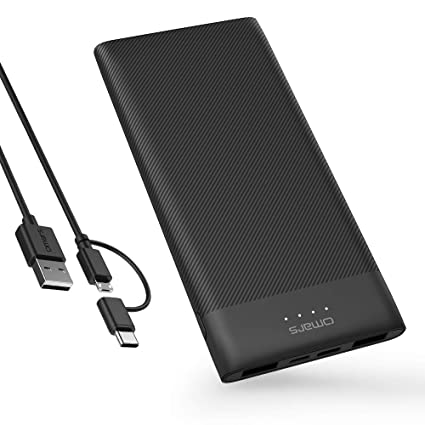 Omars Battery Pack Power Bank 10000mAh USB C Battery Bank Slimline Portable  Charger with Dual USB Output Compatible with iPhone Xs/XR/XS Max/X, iPad,
