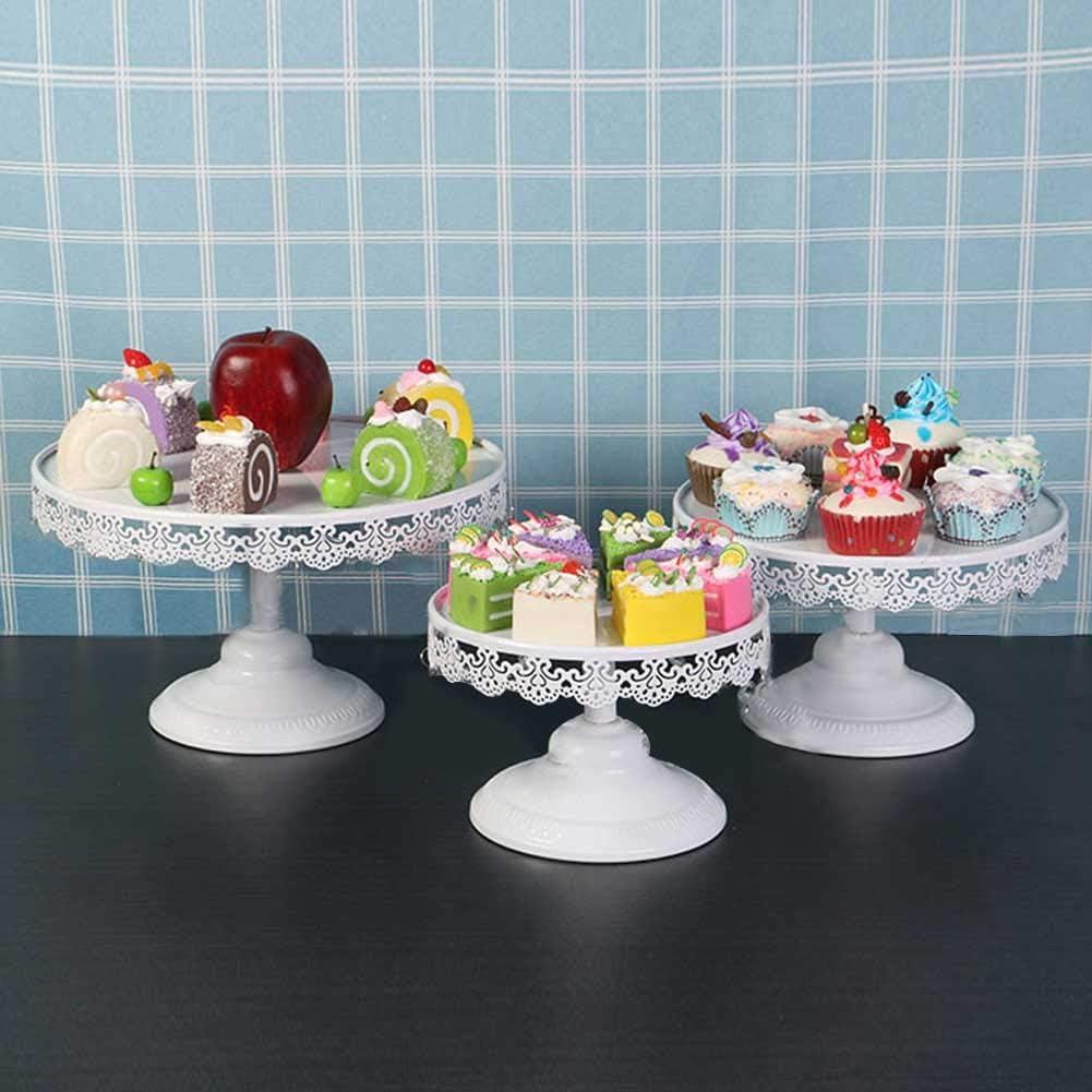 Soportes para pasteles Soporte para cupcakes de hierro Frutas Postre Placa de exhibici/ón Blanco para baby shower Fiesta de cumplea/ños de boda Celebraci/ón Decoraci/ón para el hogar Plato de servicio