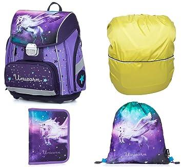 159e168075 Einhorn Schulranzen Mädchen 1 Klasse Tornister Schulrucksack Schultasche |  Set 4 TLG. für Grundschule