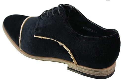 2dbdfbbf6fb088 Chaussures Homme Style Velours Bleu Noir avec Lacets Chic et décontracté:  Amazon.fr: Chaussures et Sacs