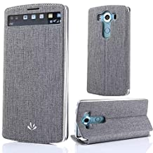 "LG V10 Cases, Sunroyal Premium Colorful Window View Flip Smart Touch PU Leather Kickstand Detachable Folio LG V10 5.7"" Cover Pouch Slim Fit Shockproof Anti-dust Soft Hybrid Rubber Bumper Gray Grey"