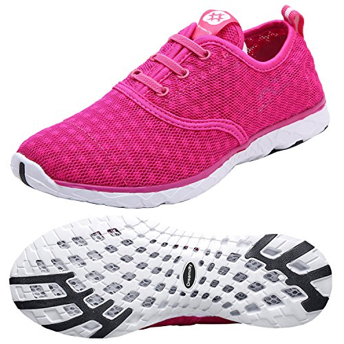(Dreamcity Women's Water Shoes Athletic Sport Lightweight Walking Shoes Rose Red)