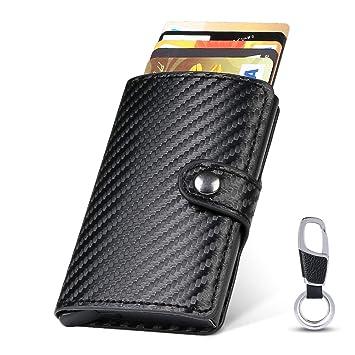 550d3c37d flintronic Tarjeteros para Tarjetas de Crédito Automática Billetera de  Aluminio y Cuero con Bloqueo RFID Mini