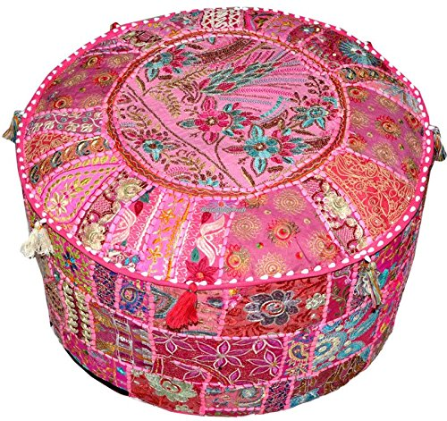 Navya Creations Indian Embroidered Patchwork Ottoman Cover Vintage Pouf Floor Bohemian 18 x 13 inch