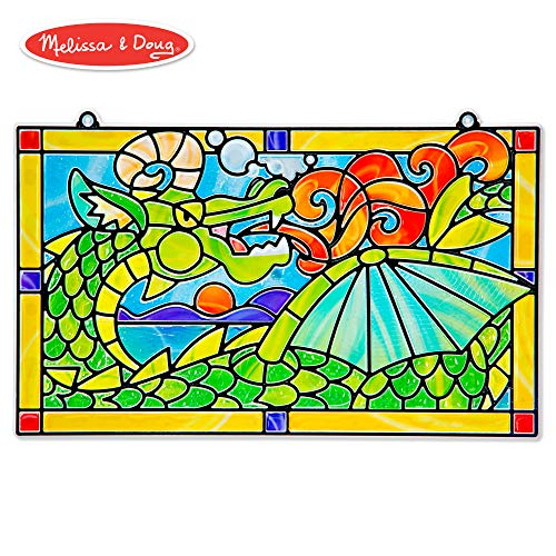 Melissa & Doug Stained Glass Made Easy Activity Kit, Dragon (Arts and Crafts, Develops Problem Solving Skills, 170+ Stickers) (Mermaid Glass Stained)