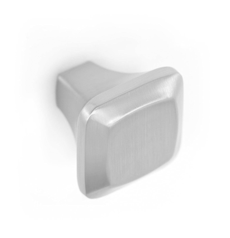 BirdRock Home Contemporary Square Cabinet Knobs | Brushed Nickel | 10 Pack | Kitchen Cupboard Furniture Cabinet Hardware Drawer Dresser Pull | 1.25 Inch Width