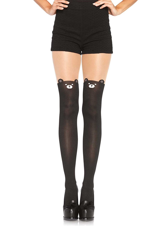 Leg Avenue Women's Black Bear Pantyhose One Size 793722001