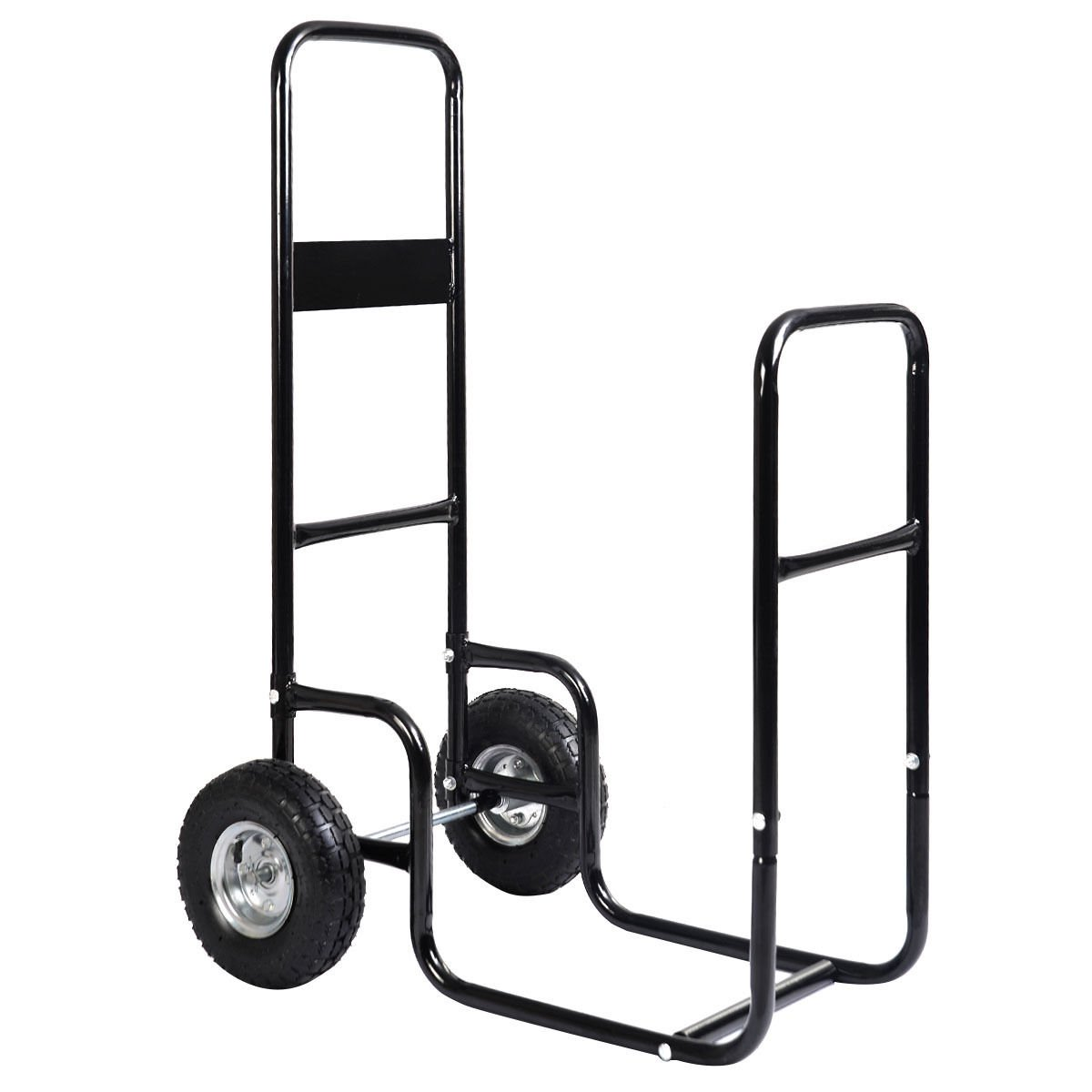 GHP 220Lbs Weight Limit Steel Firewood Mover Cart with All-Terrain Pneumatic Tires