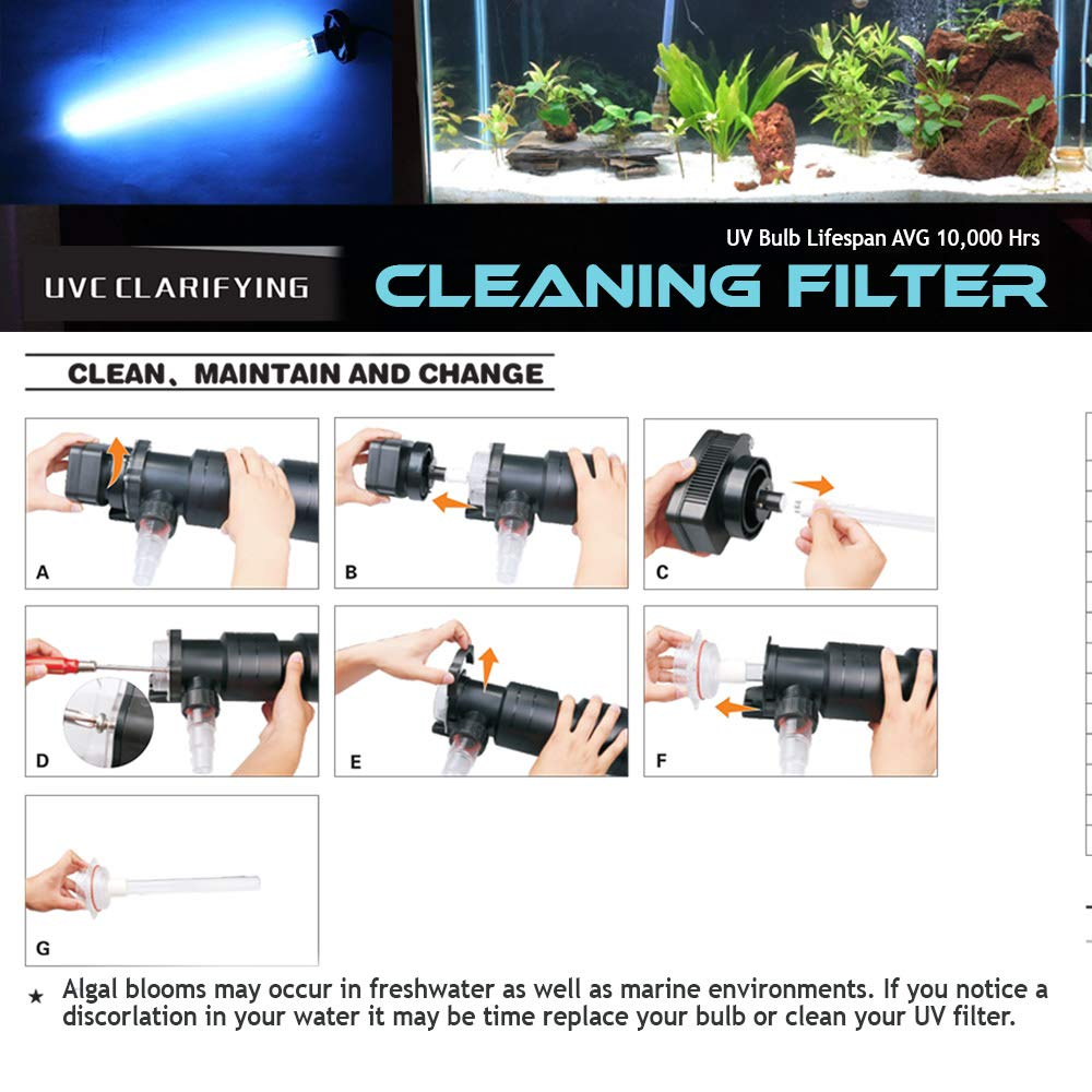 Oxyful 18W UV Ultraviolet 2G11-4 Pin Base Algae Bacteria Virus Replacement Sterilizer Light Clarifier Lamp Filter for Aquarium Koi Pond Fish Tank Compatible to CUV-318 / CUV-618 by Oxyful