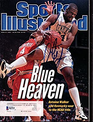 Antoine Walker Autographed Sports Illustrated Magazine Kentucky Wildcats Beckett BAS #B63918
