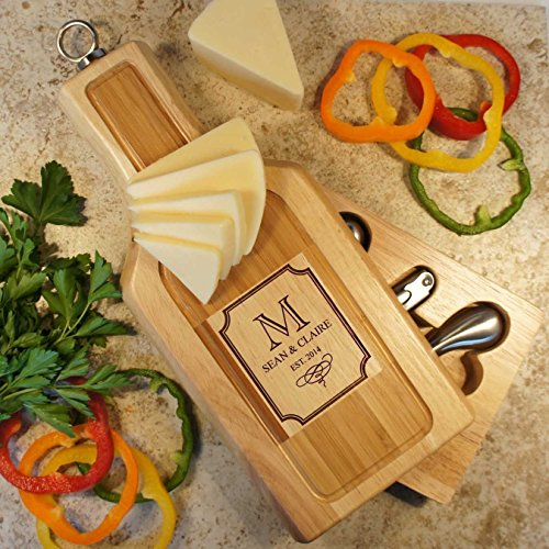 Wine Shaped Personalized Cheese Board Tool Set with Monogram Design Options