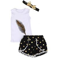 Conjunto de traje Puseky para niña; con plumas, camiseta sin mangas, pantalón corto y diadema White+Black Talla:2-3 años