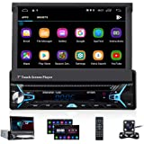 CAMECHO Android 10.0 Single Din Car Stereo Bluetooth Car DVD/CD Player 7 inch Retractable & Flip out touchscreen Radio Build-
