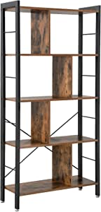 VASAGLE ALINRU Bookcase, 4-Tier Industrial Bookshelf, Floor Standing Storage Rack in Living Room Office Study, Large Storage Space, Simple Assembly, Stable Iron Frame, Rustic Brown ULBC12BX