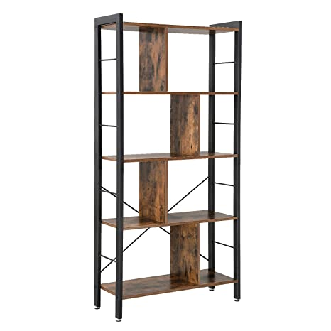 Vasagle Bookcase 4 Tier Industrial Bookshelf Floor Standing Storage Rack In Living Room Office Study Large Storage Space Simple Assembly Stable