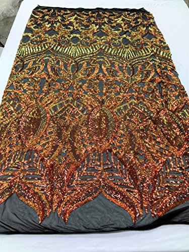 4 Way Stretch Iridescent Sequins Embroidery Laced Fabrics - Iridescent Orange and Yellow with Black Mesh - Lace Hologram Sequined Fire Tone Fabrics By The Yard