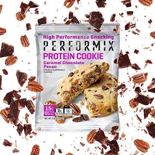 PERFORMIX Whey Protein Keto Snacks Cookies, iOProtein Blend, Almond Flour, Avocado Oil, Low Net Carb Snacks, 12 Count Box, Chocolate Pecan Salted Caramel