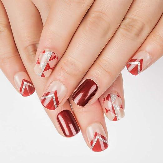 Doreliss uñas postizas 30 Pcs Consejos corto uñas falsas de Pegamento adhesivo de doble cara Glitter Rojo: Amazon.es: Belleza