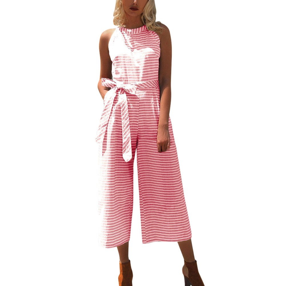Dimanul Womens Rompers,Sleeveless Striped Jumpsuit Casual Clubwear Wide Leg Pants Outfit Summer Suit