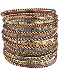 Flower Mixed Metal Aztec Multi Bangle Set of 19