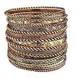 Lux Accessories Flower Mixed Metal Aztec Multi Bangle Bracelet Set