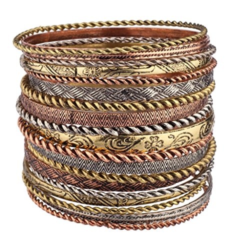 Lux Accessories Flower Mixed Metal Aztec Multi Bangle Bracelet Set ()