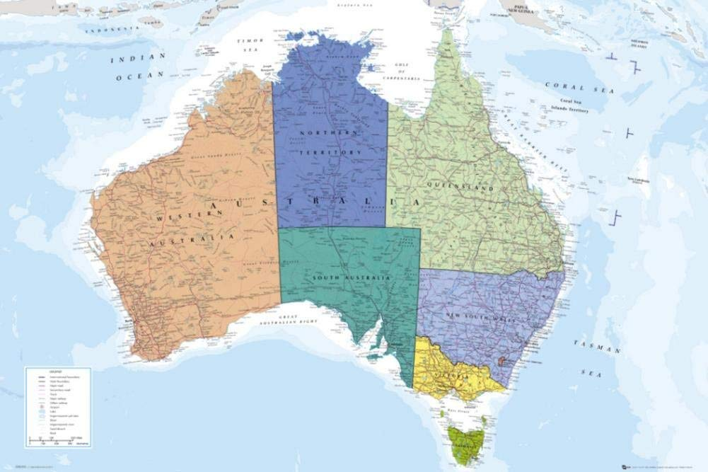 Australia Map Political.Amazon Com Political Map Of Australia Art Print Poster 24x36