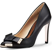 JENN ARDOR Women's Stiletto High Heel Pumps Pointy Toe Bowknot Slip On BridalWedding Shoes