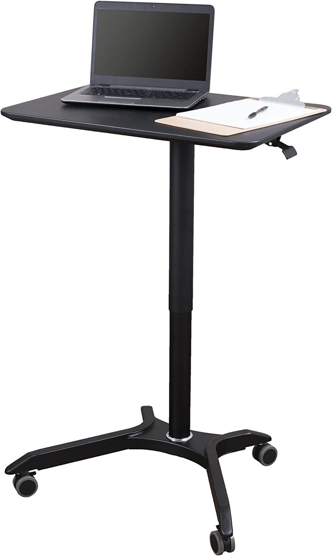 "Pneumatic Adjustable Height Laptop Desk Cart (28"", Black/Black)"