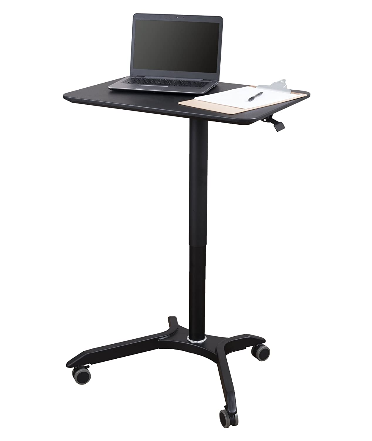 Pneumatic Adjustable Height Laptop Desk Cart 28 , Black Black