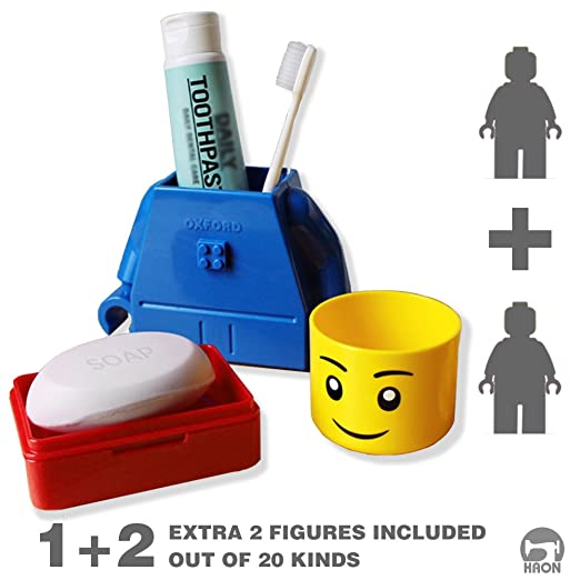 Brick Toothbrush Toothpaste Stand Holder, Cup and Travel Soap Case for Kids, Toddler, and even Kidult (NON-TOXIC MATERIAL USED PRODUCT) (Lego Figure Compatible) (BLUE)