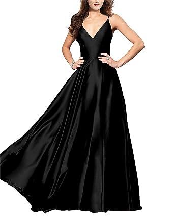 Lily Wedding Womens Spaghetti Strap V-Neck Prom Dresses 2018 Long A ...
