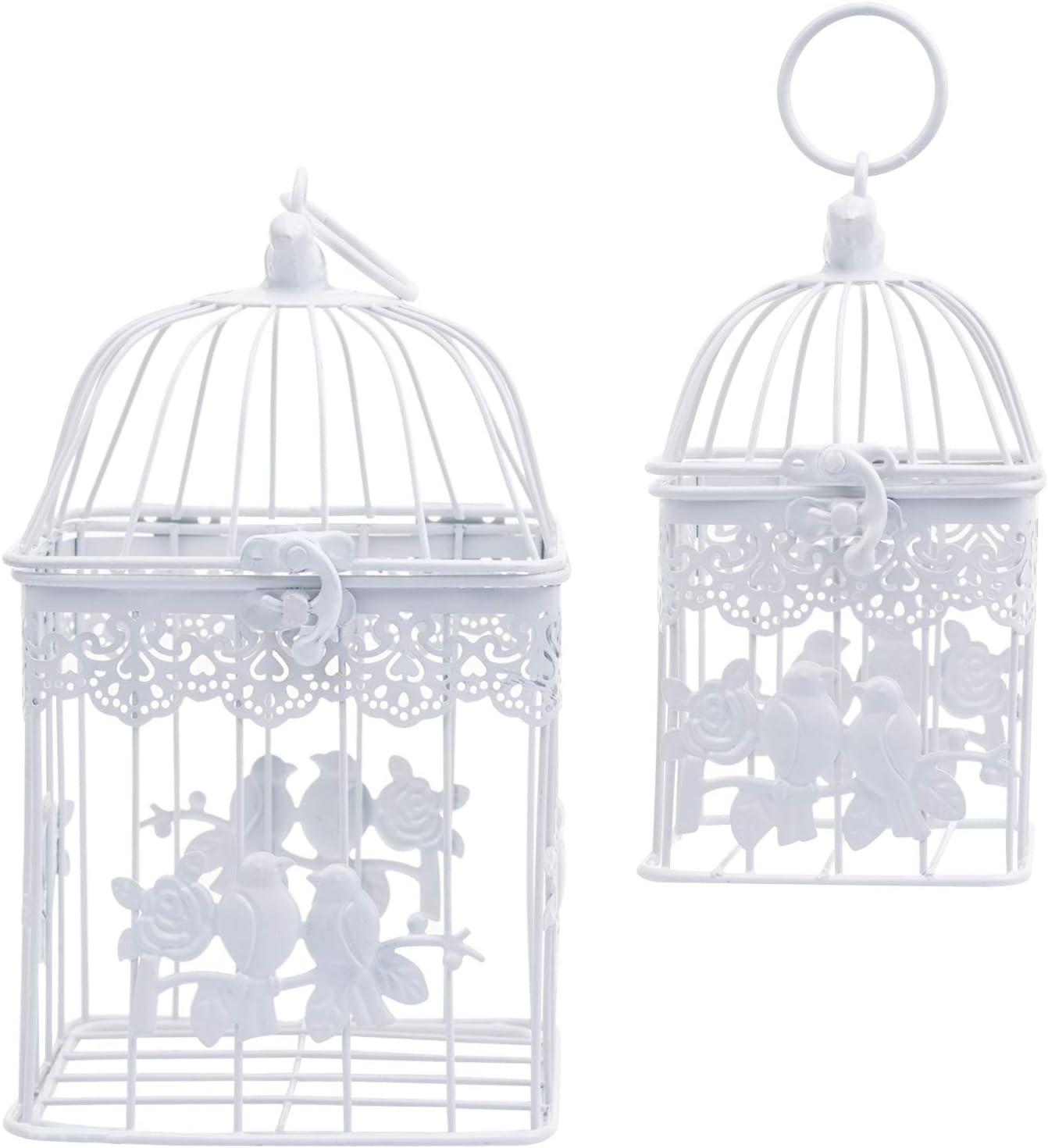SOGREAT Jaula Decorativa de 2 Flores, Jaula para pájaros, decoración de Mesa, Jaula para Plantas, buzón, Metal, Color Blanco, Vintage, Ideal para Sobres de Boda, Tarjetas de Dinero