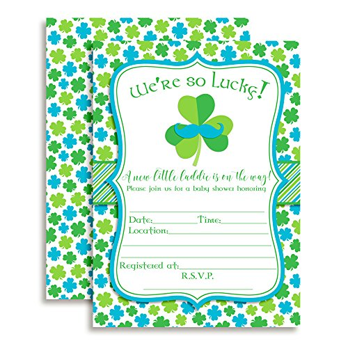- Amanda Creation St. Patrick's Day Baby Boy Shower Fill in Invitations Set of 20 with envelopes