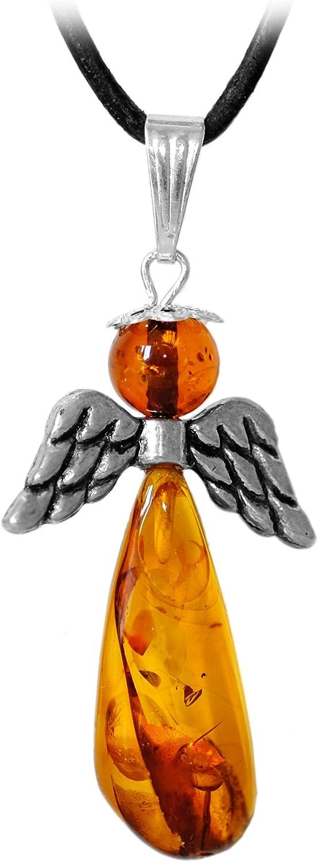 Kaltner Präsente- Collar de cuero para hombre y mujer con colgante en forma de ángel en piedra de ámbar